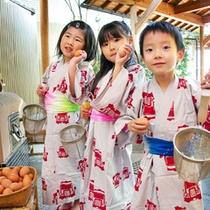 子供と温泉ゆで玉子作り(1個100円)