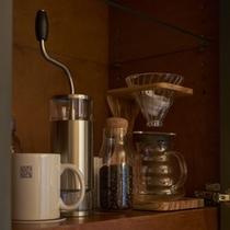 コーヒー豆、コーヒーミル
