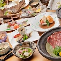 個室で食べる夕食一例