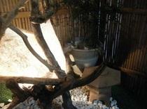 女将手づくりの行燈・・・流木で作りました。