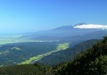 月山からの立谷沢川流域と鳥海山(夏)