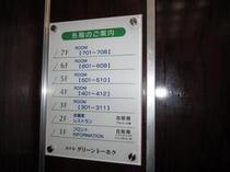 各フロアーの案内板はエレベーター内にあります。