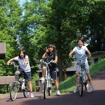 【園内風景】電動アシスト付き自転車のレンタルもありますよ。これなら遊歩道も楽々♪
