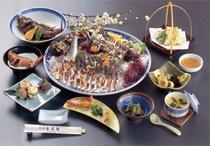 関アジ関サバ活造りコースのお料理