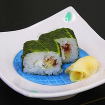 【春】桜鯛と筍の紅梅めはり寿司