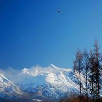 【上宇莫別・丸山付近より新雪の十勝岳】