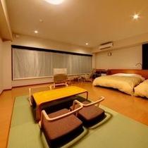 客室 海側 プレミアム和洋室 ワイドビュー(クイーン×2ベッド+4畳)