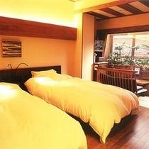 露天風呂付客室【とき】にご用意したベッドルーム