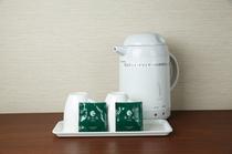 緑茶は、安心して飲める国産品◎電気ポットもたっぷり容量で便利です♪