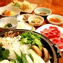*【上州牛のすき焼き鍋コース一例】味&ボリューム満点、人気のプランです♪