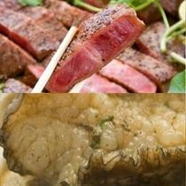 新鮮アワビ&長崎県産牛のステーキ…どちらも食べられたら、なんて贅沢!!