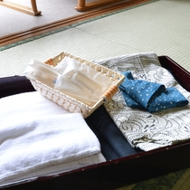 【アメニティ】浴衣・歯ブラシ・タオルなどをご用意しております。