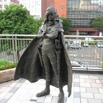 JR小倉駅でキャプテンハーロック(銅像)がお出迎え
