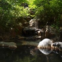 1【露天温泉岩風呂】こんこんと湧き出るナトリウム塩化物温泉