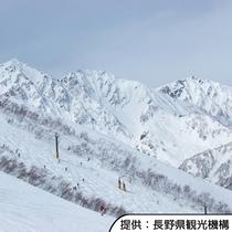 【白馬八方尾根スキー場】ホテルから車で約90分(ドライ路面時)です。