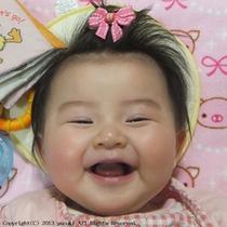 赤ちゃん旅館デビューは笑顔満点
