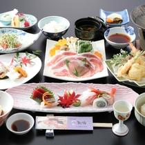 【会席料理一例】ご夕食は地元「鬼怒川」の恵み、旬の食材をふんだんに使用したお料理。