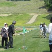 【春夏秋】ホテルの庭でグラウンドゴルフが出来ます(※有料でレンタルあり)