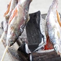 【夏】魚つかみ体験後は囲炉裏で炭火焼きに!