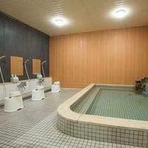 ▼【大浴場】天然の光明石を使用した人工温泉。やわらか湯ざわりとポカポカ感をお楽しみください。