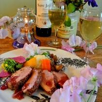 鴨のロースト 赤ワインソース添え 春