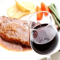 ステーキにはワインが合います♪