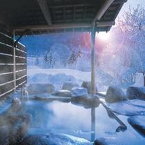 寒そう〜って言わないで^^ 雪見風呂!いいね!