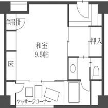 【禁煙室】9、5畳+2畳「平面図」