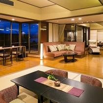 ■別邸うらら■デラックスルームの間取り一例。ゆったりリビング付の和洋室