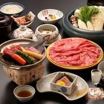 飛騨牛たっぷり!2品付きの会席料理(例)