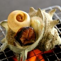 3種の味が楽しめるサザエの壷焼き。
