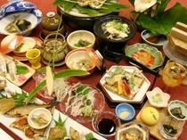 鮎づくし料理例【島根県・匹見峡温泉】