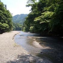 徒歩5分の場所では川遊びもできます