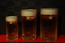 生ビール 中、大、特大!