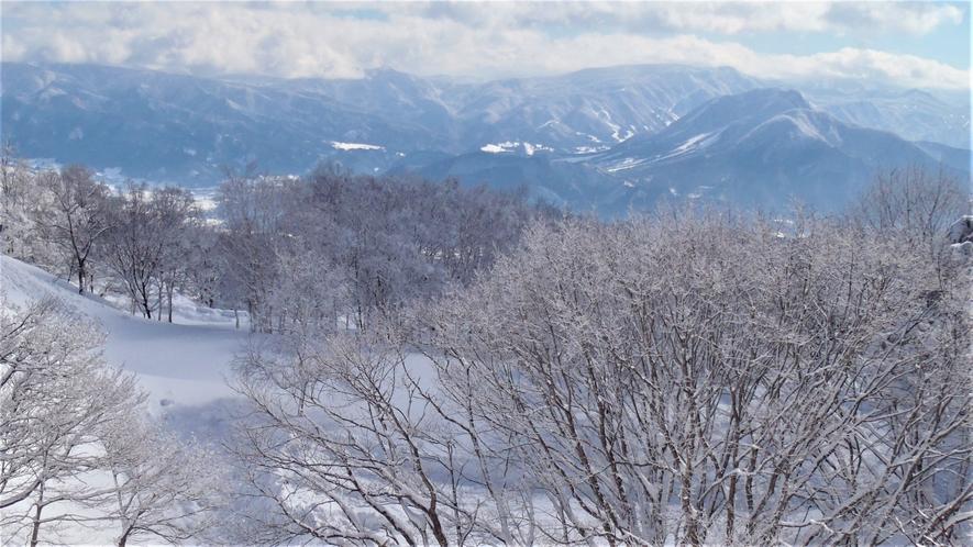 ペンションからの冬の眺め