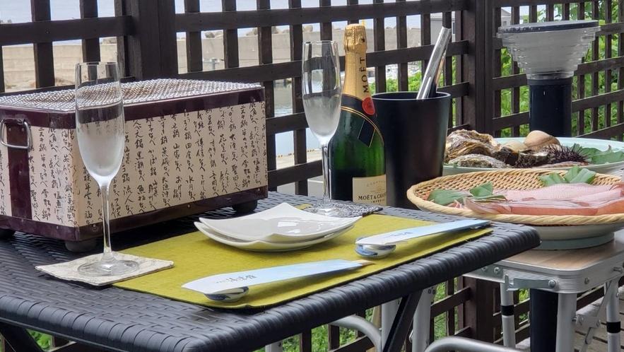 【0泊2食】丹後の新鮮な豪華食材で海鮮BBQ♪海絶景を見ながらシャンパンで乾杯!