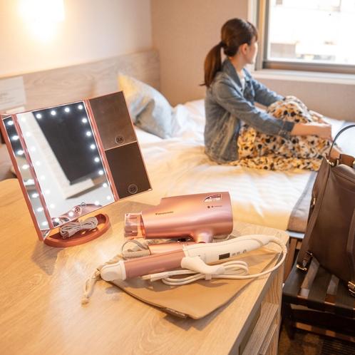 【レディースルーム】女性に嬉しいアイテムが整っていてぐっすり安心♪ <スーパーホテル米子駅前>
