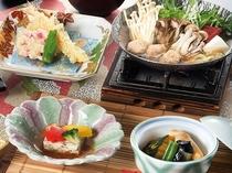 2018秋《華》木の子と鴨団子の味小鍋、海老芋の揚げ煮