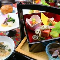 【春料理】【前肴】岩魚含煮 鹿時雨煮 白魚桜煮 天豆海老 他