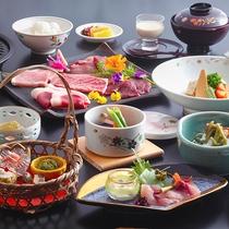 """【美山会席-松-】美山が誇る5種類のお肉をジューッと""""炙り焼きに""""!"""