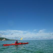*カヌーツアー/海カヌーツアーでは、青いサンゴの上をのんびりお散歩♪