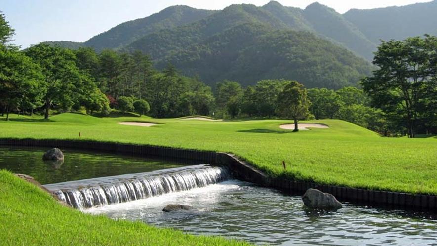 *美しい緑の天然芝のゴルフコース。