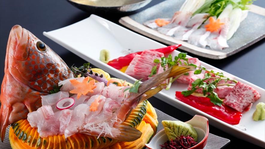 極会席のお料理例。旬魚、和牛ステーキ、のどぐろしゃぶしゃぶ