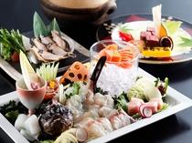 あわび、和牛ステーキ、旬魚(夏はおこぜ)の姿造り。記念日にもおススメ
