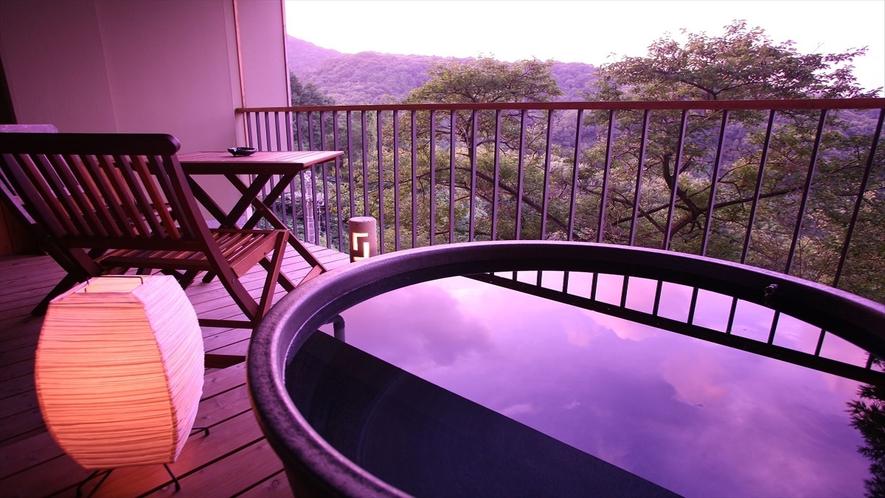 客室露天風呂からの夕景(一例)