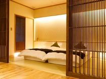 格子が古都奈良の落ち着きを醸し出すZEKKEI 寝湯露天風呂付スイート