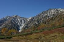 紅葉と北アルプスの山々