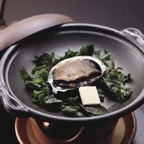 *夕食一例/アワビの陶板焼きは香ばしいバターの香りが食欲をそそります!