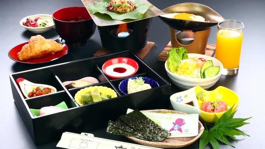 朝食は、飛騨名物「朴葉味噌」が付いた和食です。
