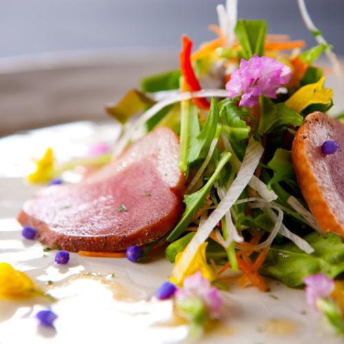 高原野菜と鴨のパストラミのサラダ